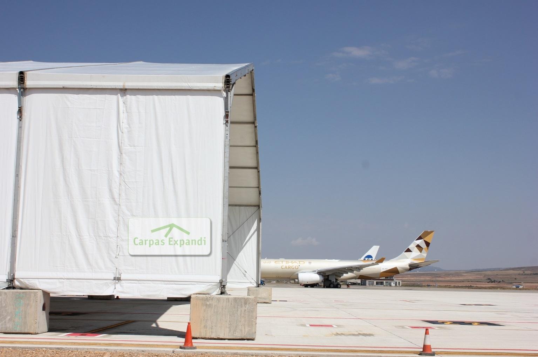 montaje carpa para empresa aeronáutica Zaragoza